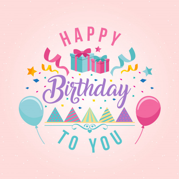 Surprise theme happy birthday card illustration vector free download jpg
