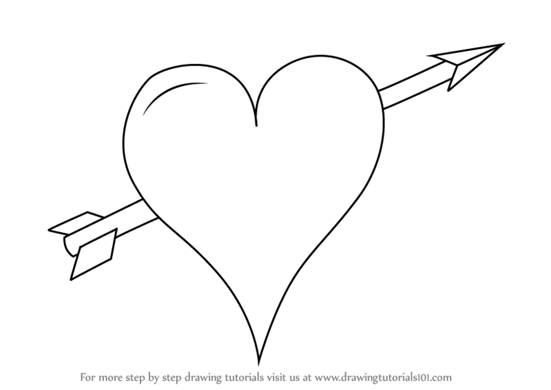 heart drawing Learn how to draw heart with arrow love step by drawing png