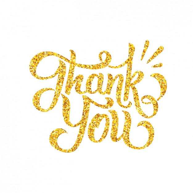 Golden letters thank you design vector free download jpg