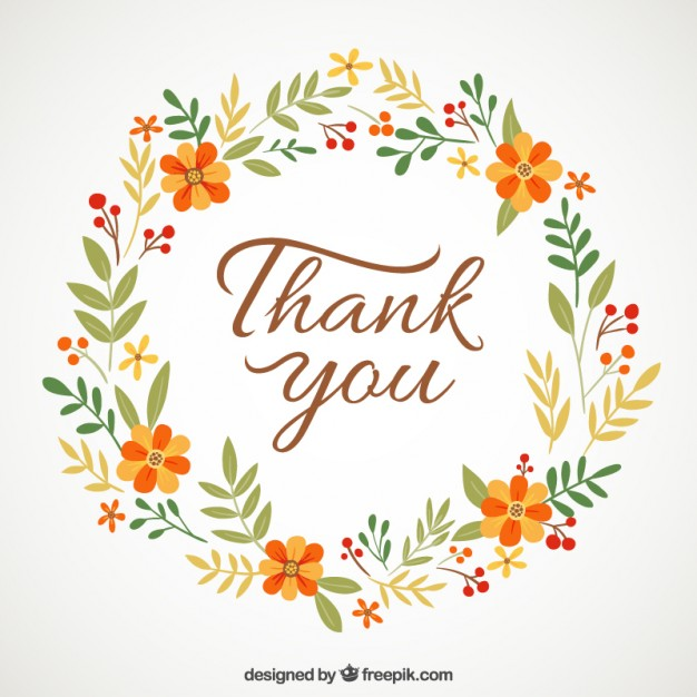 Floral wreath with thank you message vector free download jpg